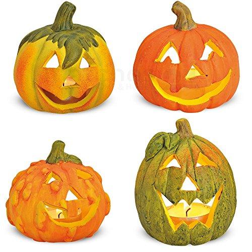 matches21 Kleine Halloween Kürbisse aus Ton Herbstdeko 4er Set Dekokürbisse mit gruseligen Fratzen / Gesichtern je 8x8x8 cm -