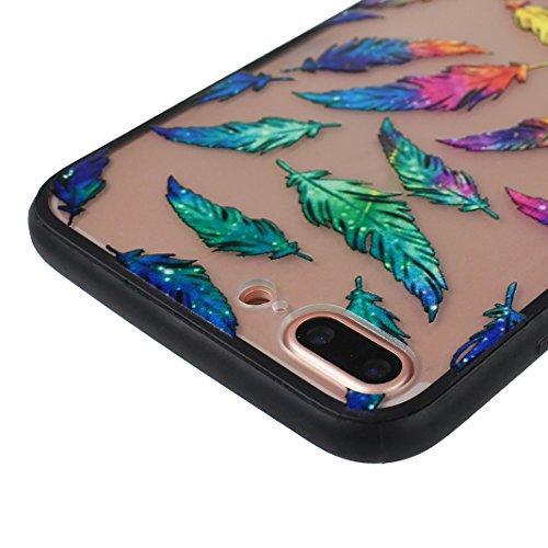 iPhone 7 Plus 2 in 1 Hybrid Tasche, iPhone 7 Plus Hülle Silikon, iPhone 7 Plus Case Silikon, iPhone 7 Plus Backcase, Moon mood® Soft TPU + Hart PC Case [ 2 in 1] Relief Schutzhülle für Apple iPhone 7  Stil - 4