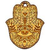 Schlüsselanhänger Boho Hand Hamsa Khamsa Talisman Glücksbringer Natur Anhänger Gravur Geschenk ca. 48 x 60 mm