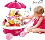 #9: smartcraft Ice Cream Play Cart Kitchen Set Toy with Lights and Music, Small