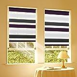 Duo Rollo Doppelrollo Klemmfix für Fenster ohne Bohren Wandmontage mit Klemmträger 50x150cm(BxH) Weiß -Anthrazit-Lila