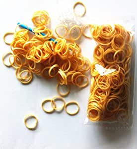 Ateam New Solid Metallic Color Golden 600pcs Rubber Loom Bandz with 1 Hook & 25 S-clips