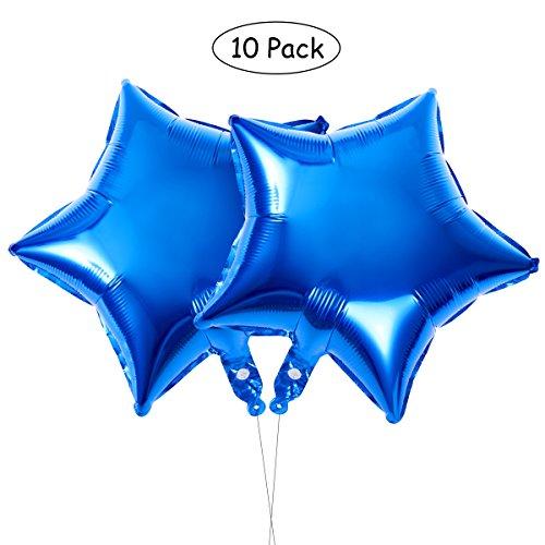Geburtstag Party Dekoration,Sterne Folie Ballon für Valentins Tag Hochzeit Geburtstag Party Supplies,10er (blau) ()