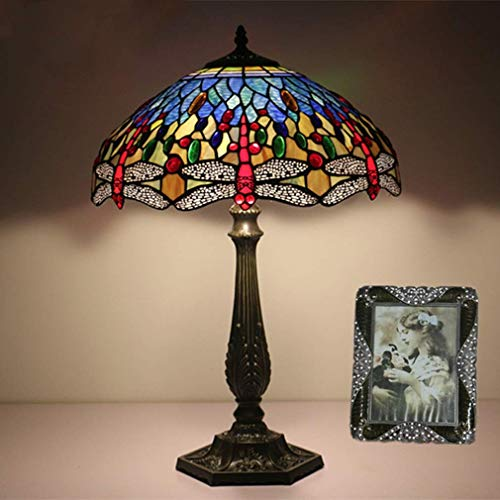 Tiffany-Stil Schreibtischlampe/Leselampe, 16 Zoll Dekorative Glasmalerei Tischlampe, mit Zinklegierung Basis, im Europäischen Stil Antike Tischlampe, Leselampe, BOSS LV, Online-Umschaltung