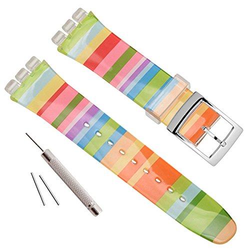 17mm de repuesto resistente al agua correa de reloj de goma de silicona banda de reloj (Colores del arco iris)