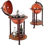 Jago–Bar Globe porta bottiglie e bicchieri in legno con ruote, motivo mappamondo