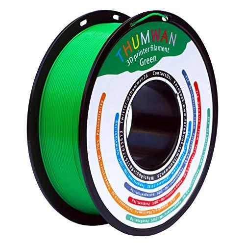 THUMWAN PLA Filamento 1.75mm Verde, Impresora 3D Filamento PLA para Impresora 3D y Bolígrafo 3D, 1Kg