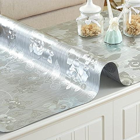 XMMLL Cirée Imperméable Pvc Soft Glass Et Split Table Cloth,C),80*80Cm