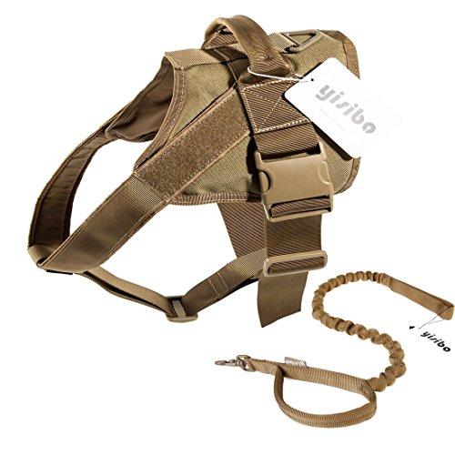 yisibo Taktisch Bedienung Hundegeschirr und Blei, Nylon Einstellbare Militär Ausbildung Patrouillieren Hund Weste und Leine für große/kleine Hunde (S, Braun) (Schlitten Mit Pom)