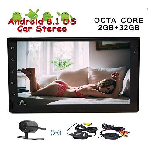 7 Android 8.1 Doppel-DIN-Autoradio mit GPS Navigation In-Dash-Head Unit Multimedia Player Octa-Core 2 GB RAM 32 GB ROM Bluetooth SWC Spiegel Link USB-Sd FM AM RDS 3G 4G WiFi OBD2 mit Rückfahrkamera