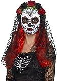Smiffys Déguisement Femme, Masque Senorita Jour des morts, Visage complet, Rouge et noir, avec roses et voile, 44639