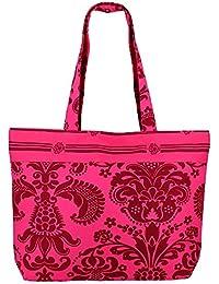 Multiuso Bolsa de la compra rosa - La bolsa de asas de algodón con cierre de cremallera y dos asas