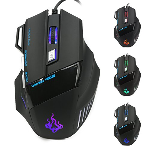 Gaming Maus, Queender Wired Professionelle Optical Maus mit LED Kabel 4 Einstellbare DPI, 7 Programmierbare Taste für Notebook, PC, Laptop, Computer, Mac Schwarz