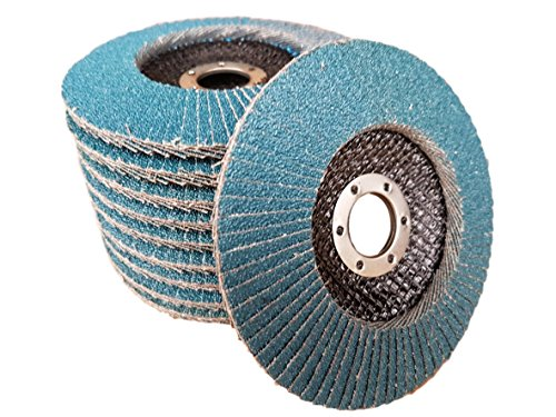 10 x Rostio Fächerscheibe 125 mm Edelstahl Inox Fächer-Schleifscheibe Zirkonkorund Blau Flex/Winkelschleifer (Korn 80)
