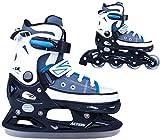 2in1 Schlittschuhe Inliner Gondo ABEC5 blau schwarz Gr. 33-36, 37-40, 40-43 Verstellbare Skates (33-36)