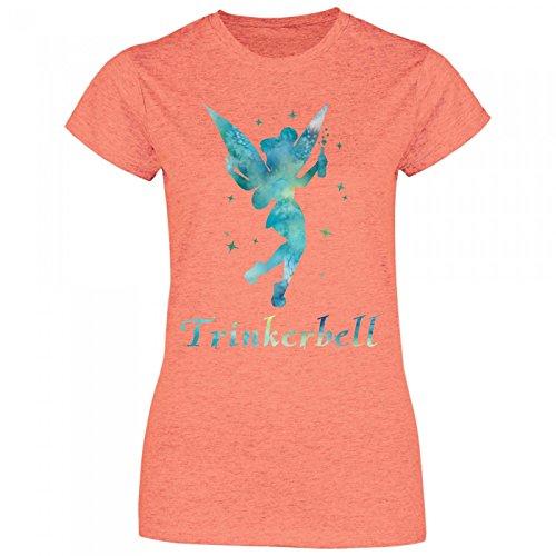 Royal Shirt a20 Damen T-Shirt Trinkerbell | Trinkerfee Fee Bell Partyshirt Sprücheshirt Girly Mädchen, Größe:XL, Farbe:Heather Orange