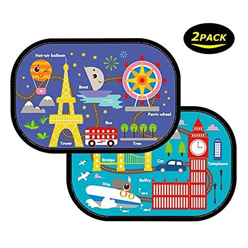 Baby Parasole per auto, Bespick 2 Pack Parasole per auto Parasole auto per bambini con motivo colorato e massima protezione dai raggi UV