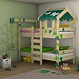 WICKEY Etagenbett CrAzY Ivy Spielbett für 2 Kinder Hochbett mit Dach, Kletterleiter und Lattenboden, grün-apfelgrün, 90x200 cm