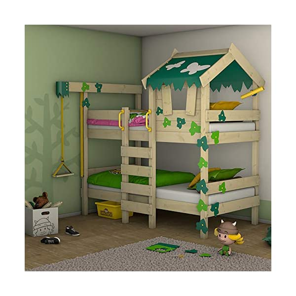 WICKEY Bunk Bed Crazy Ivy Play Bed for 2 Children Loft Bed with roof, Climbing Ladder and slatted Bed Base, Green-applegreen Wickey Fabulous bunk beds for boys and girls - Quality and safety tested - CrAzY roof and climbing ladder Natural and untreated wood - Solid wooden boards 18x120mm - Solid standing beams 58x58mm Mattress surface 200 x 90 x 12cm - Mirrored assembly possible - Detailed assembly instructions 1
