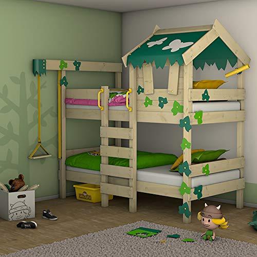 Kinder-doppel-bett-box (WICKEY Etagenbett CrAzY Ivy Spielbett für 2 Kinder Hochbett mit Dach, Kletterleiter und Lattenboden, grün-apfelgrün, 90x200 cm)