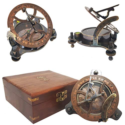 Generous Nautical Sundial Compass Brass Antique With Wooden Box Collectible Item For Gift Discounts Sale Maritime Antiques