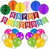 Unomor Geburtstag Dekorationen für Party mit Farbenfrohen Farbigen Happy Birthday Banner Ballons