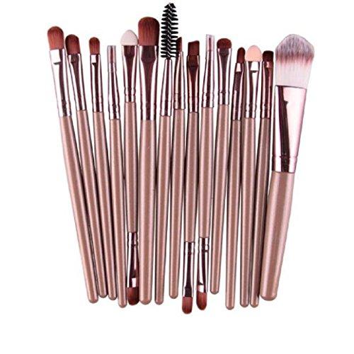 BZLine® Pinceax Maquillage, 15Pcs Pinceaux Maquillage Professionnel pour les Poudres, Anticernes, Contours, Fonds de Teints, Mélanges et Eyeliner - Multicouleur (F)