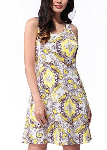Meijunter Sommer-Kleid-neue Frauen druckten O-Ansatz Blumendruck-Kleid-Sleeveless Rock W602