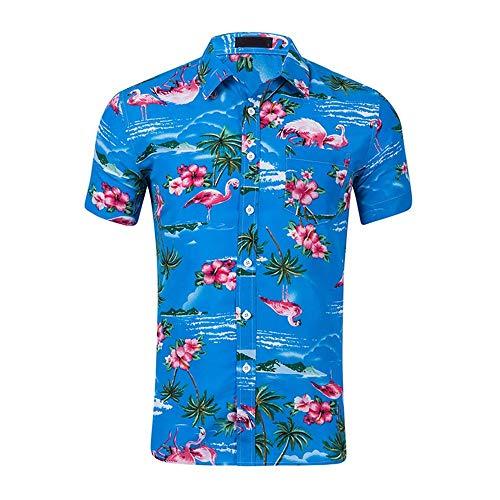 QIANZHIHE Herren T-Shirt Flamingo Print Hawaiian Shirt Herren Sommer Kurzarm Herren Strandhemd Herren Casual Slim Herrenhemd, M -