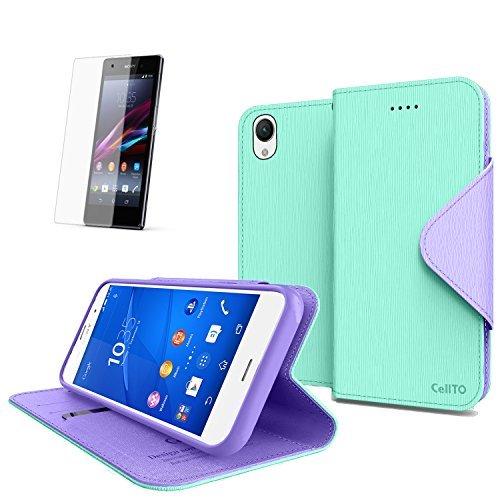 Cellto Sony Xperia Z3 Premium-Mappen-Kasten mit HD Schirm-Schutz [Dual magnetische Klappe] Tagebuch Cover / w ID Tasche (Mint) + lebenslange Garantie