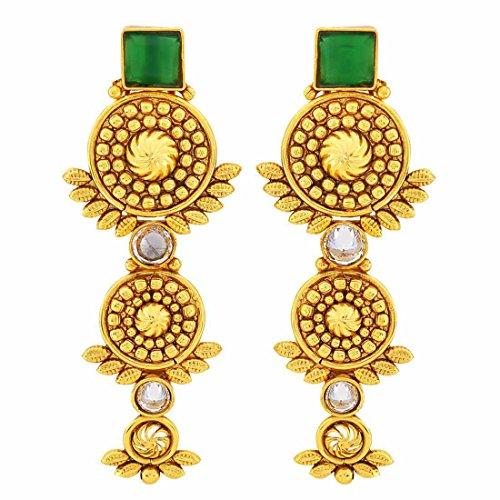 Maayra Wedding Festival Earrings Copper Dangler Drop Blue Twin Drop Pearls Jewellery