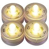 LED-Highlights Deko Kerzen Teelichter 4 er Set gelb flackernd wasserdicht kabellos Batterie Stimmungslicht Tischlampe Innen Aussen