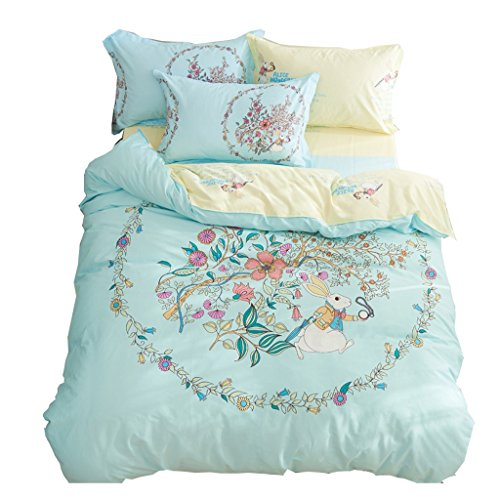 CJH 100% Baumwoll-Soft-Blau-Bettwäsche-Set (4 Stück) - Komplettes Bettwäsche-Set Inklusive 1 Quilt-Abdeckung, 1 Flat Sheet und 2 Kissenbezüge (Size : 1.5M(5FT)) (Aqua-bett-satz)