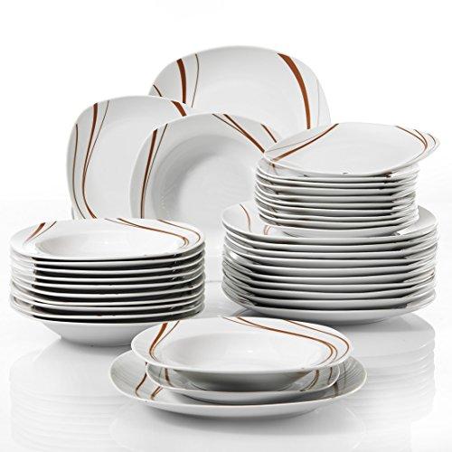 Veweet BONNIE 36pcs Assiettes Pocelaine Service de Table 12pcs Assiettes Plates 24,7cm, 12pcs Assiette Creuse 21,5cm, 12pcs Assiette à Dessert 19cm Vaisselles pour 12 Personnes