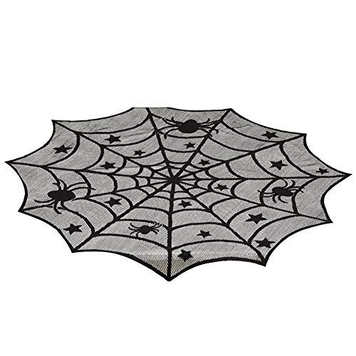 EDtara Geburtstag Jahrestag Valentine Hochzeit Geschenk,Halloween-Deko 40 Zoll schwarz Spinnennetz Muster runden Tisch Decken für Halloween-Dekoration