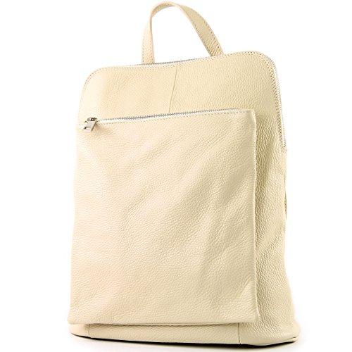 modamoda de - T141 - ital Damen Rucksacktasche 3in1 aus Leder, Farbe:Creme -