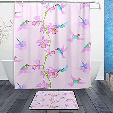 baihuishop Kolibri Orchidee Blumen pink 3-teiliges Badezimmer Set, maschinenwaschbar für den täglichen Gebrauch, inkl. 152,4x 182,9cm Wasserdicht Duschvorhang, 12Dusche Haken und 1rutschfeste Badezimmer Teppich Teppich