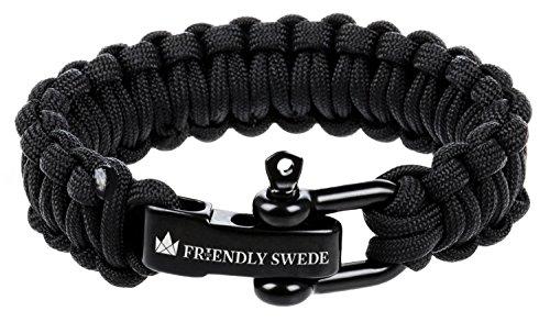 The Friendly Swede Paracord Survival-Armband mit Edelstahlverschluss - ideales Zubehör für Ihre Überlebensausrüstung (Schwarz, 20 cm)