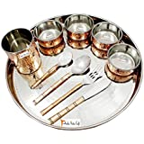 """Prisha India Craft Dinnerware Copper Traditional Dinner Set Thali Plate, Bowls, Fork, Knife, Glass Spoon And Serving Spoon, Dia 13"""" - Diwali Gifts Items - Stainless Steel Copperware Thali Set"""