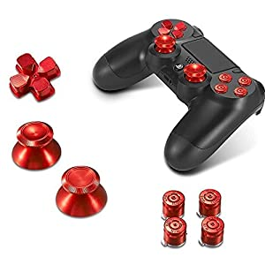 Sony PS4 Playstation 4 Controller Button Set Aluminium – Red
