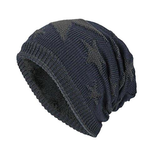 Blau Stricken Hut-set (URSING_Herren Wintermütze Draussen Wolle stricken Warmer Hut Dick Weich Mütze Long Slouch Beanie Strickmütze für Outdoor mit Fleecefutter Ski Kappen Herrenmütze (44~60cm, Navy B))
