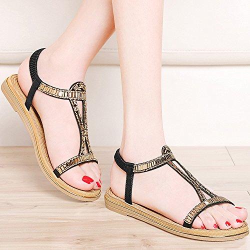 MEI&S Donne sandali tacco piatto Boho scarpe da spiaggia Black
