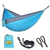 TOMSHOO Hängematte, Ultraleichte Ausrüstung für Outdoors Backpacking Survival oder Reisen Fallschirm Nylon Reise Hängematte für 2 Personen (Blau)