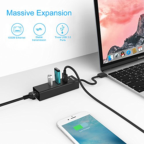 TeckNet Hub USB 3.0 Ethernet Adaptador 10/100/1000 Ggabit Ethernet LAN, USB 3.0 Hub de 3 Puerto y Puerto RJ 45, Compatible con Ultrabook, Microsoft Surface RT, Notebook e PC