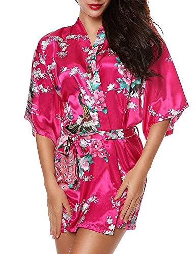HaoLiao Kimono-Pyjamas Frauen Nightgown Bademantel Court V-Ausschnitt Mit Gürtel Druck Pfau Und Blumen Retro-Dunkles Rosa, ()