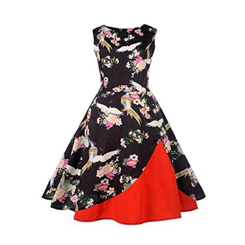 hingsball kleider Vintage karneval Party Kleid Damen 50s Retro Vintage Rockabilly Kleid Partykleider Cocktailkleider (Günstige Schneeflocke Dekorationen)