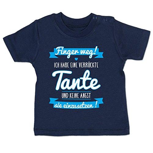 Verrückte Jungs T-shirt (Shirtracer Sprüche Baby - Ich Habe eine Verrückte Tante Blau - 6-12 Monate - Navy Blau - BZ02 - Babyshirt Kurzarm)