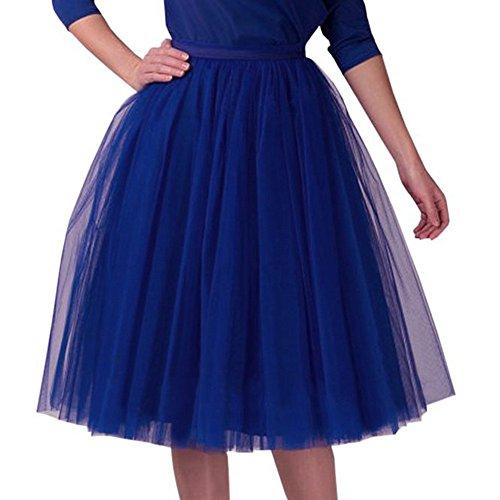 Hirolan Tüllrock Ballettrock Tutu Petticoat Vintage Partykleid Unterkleid Damen Falten Gaze Kurzer Rock Erwachsene Tutu Tanzender Rock Ballklei Abendkleid Zubehör (Einheitsgröße, Blau 11) - Für Erwachsenen-kleidung Frauen
