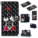 Nadoli Wallet Handyhülle für Huawei P30,Kreative 3D Liebe Katze Muster Taljereep Ständer Flip Ledertasche Brieftasche Schutzhülle Etui für Huawei P30