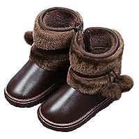 KVbabby Kids Snow Boots Winter Warm Waterproof Girls Outdoor Anti-Slip Walking Hiking High-top Shoes Coffee